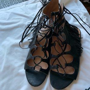 Black tassel sandals